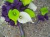 bouquet and boutonniere: Silk purple hydrangea, calla lilies