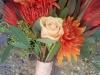 Bouquet of roses, pin cushion protea, leucadendron, mums, silk tulip
