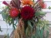 Bouquet of dahlias, pin cushion protea, hanging amaranthus,