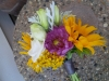 hand-tied bouquet: sunflowers, yellow wax, lisianthus, dahlia
