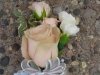 Corsage: Blush colored rose with white carnations
