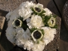 fresh bouquet of white anemones and white carnations