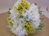 silk white hydrangeas with fresh yellow wax