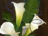 3 large calla lilies, 1 mini purple throat calla lily, purple ting-ting, sword fern