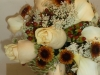 Fresh bouquet of off white roses, queen annes lace, buttons