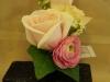 fresh corsage:antique rose, ranunculus, ivy