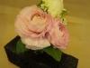 fresh pink ranunculus, spray rose, ivy