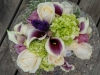 Fresh bouquet purple throat calla lilies, white roses, green hydrangeas, purple lizzy, purple roses, variegated mini pit