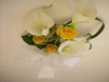 silk calla lilies, fresh yellow spray rose, grass