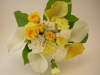 fresh/silk throw bouquet, calla lilies, carnations, spray roses
