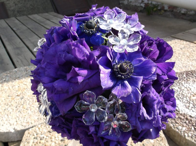 fresh bouquet of Purple anemones, purple lizzy bling pieces