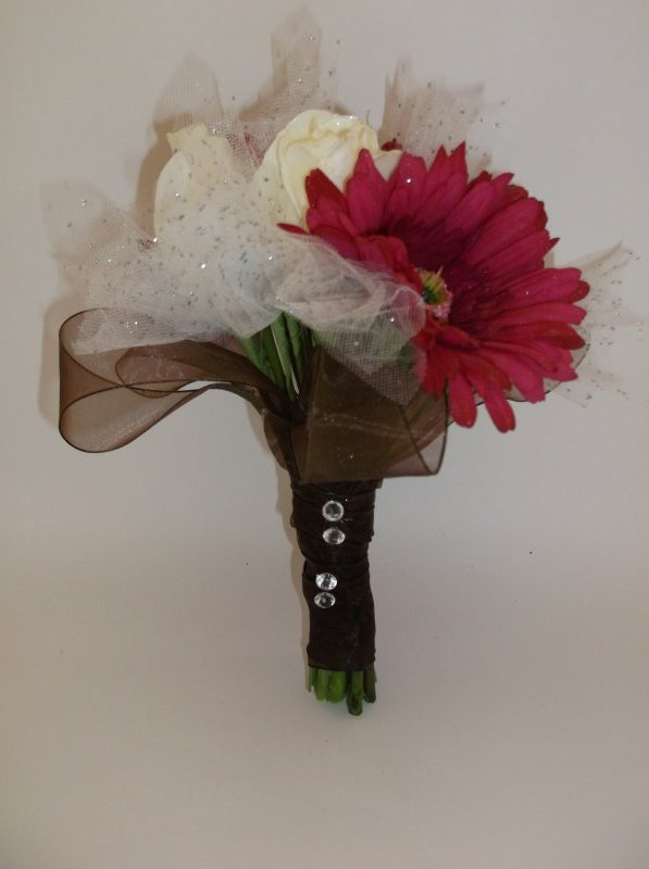 Silk bouquet with gerb, tulle, ribbon loops