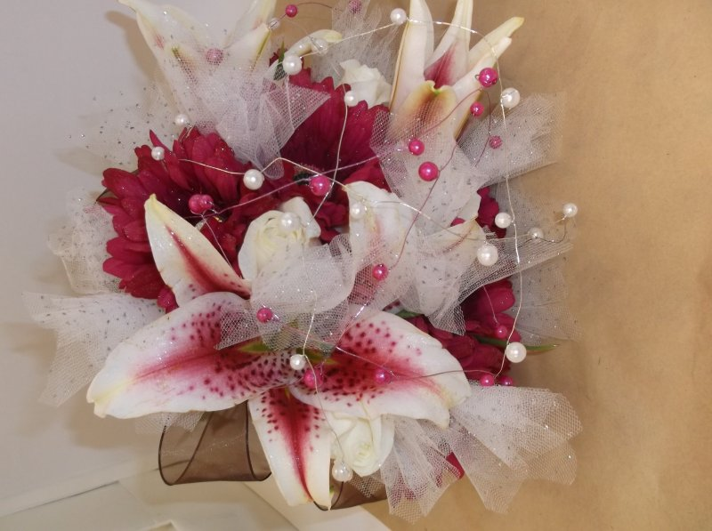 Fresh/silk bouquet; gerbs, star gazer lilies, tulle, beaded wire