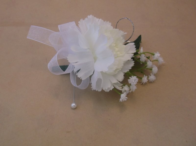 silk corsage white carnation with babies breath