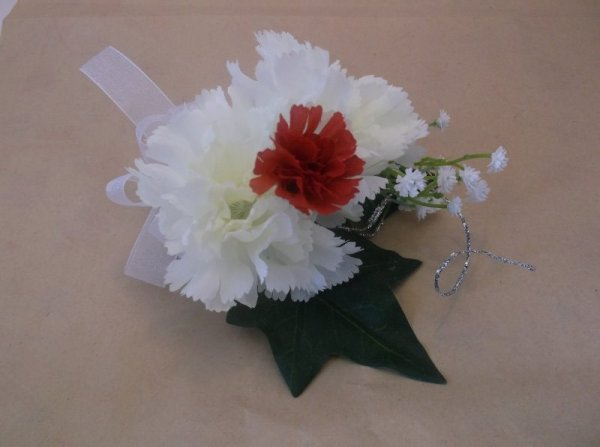 silk corsage white and red carnations with ivy and babies breath