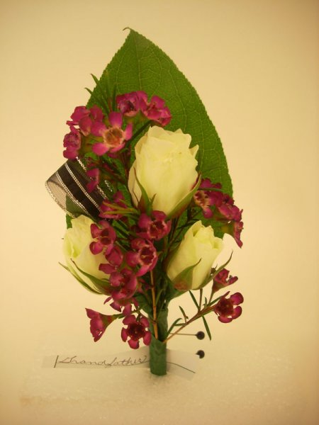 fresh, corsage, white spray rose, wax flower
