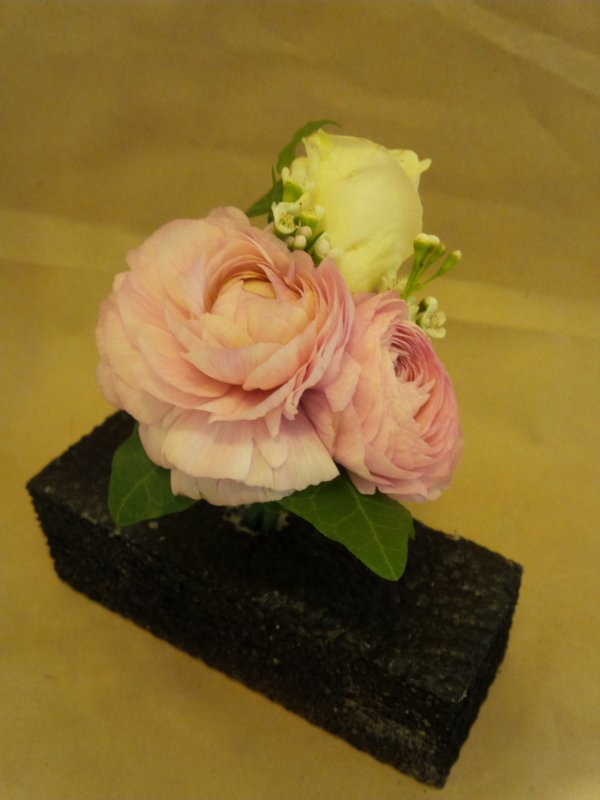 fresh pink ranunculus, spray rose, ivy