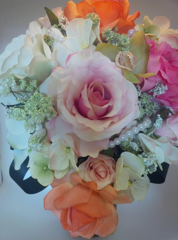 Silk cascade bouquet with roses, queens anne lace, hydrangea, orchid, pearls, black ribbon loops