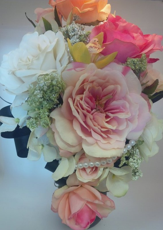 Silk ccascade bouquet with roses,queens anne lace, hydrangea, orchid, pearls, black/lace  ribbon loops