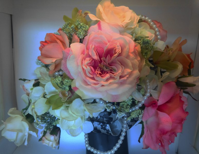 Silk crescent bouquet with roses,queens anne lace, hydrangea, orchid, pearls, black/lace  ribbon loops