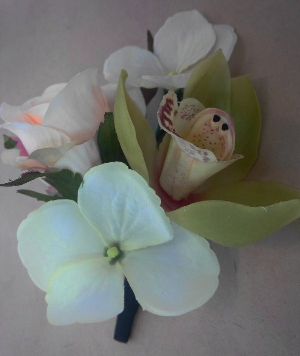 Silk corsage orchid, hydrangea, spray rose
