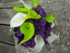 bouquet: Silk purple hydrangea, calla lilies