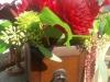 Centerpiece: dahlia, leucadendron, cockscomb , succulent, seeded eucalyptus