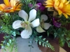 Silk centerpiece of sunflowers, orchids