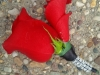 Boutonniere: red rose with diamond wrap
