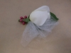 Fresh white corsage with tulle and beads