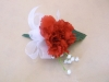 silk corsage red carnation and babies breath