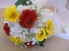 Silk bouquet with white hydrangea, red carnations, yellow daisies