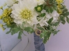 Dahlias, succulents, yellow wax with keep sake