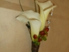 2 mini white calla lilies, hypericum berries, bears grass, bling pieces, stem wrapped in raffia