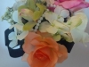 Silk cascade bouquet with roses, orchid, hydrangea, pearls, black ribbon loops