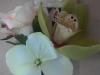 Silk corsage orchid, hydrangea, spray rose