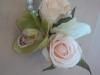 silk wristlet orchid, spray rose, hydrangea