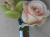 Silk spray rose with orchid