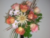 fresh,brides bouquet, roses, mums, daisies, cat tails, lily green, ivy